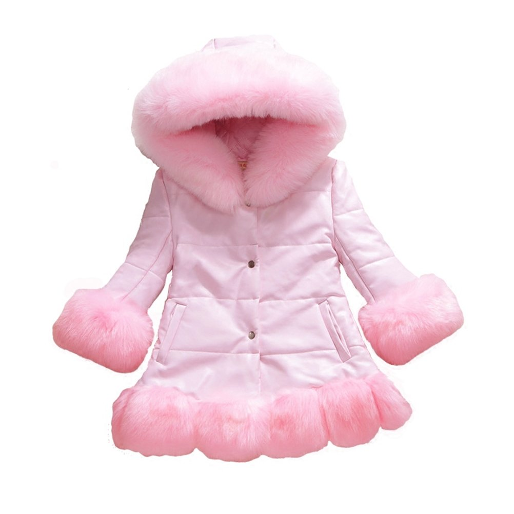 Cotton Padded Jacket with Hood Thicken Pleather Winter Parka 4 Colors 2T-14 Years ACE SHOCK Faux Fur Coat Girls Long