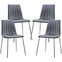 Poly and Bark Pierce Fabric Side Chair (Set of 4) Grey