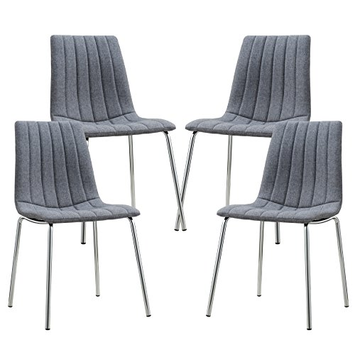 Poly And Bark Pierce Fabric Side Chair  Set Of 4  Grey