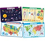 merka Educational Placemats for Kids - Explorer Set - Bundle of 4 Mats - Human Body, USA and World Map and The Solar System - Non Slip, Washable and Reusable - Planets, Countries, States and Capitals Larger Image