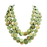 Rosemarie Collections Women's Olive Green Multi Strand Wood Bib Necklace