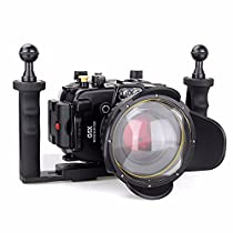 EACHSHOT 40m/130ft Underwater Diving Camera Housing for Canon G5X + 67mm Fisheye Lens + Two Hands Aluminium Tray + 67mm Red Filter