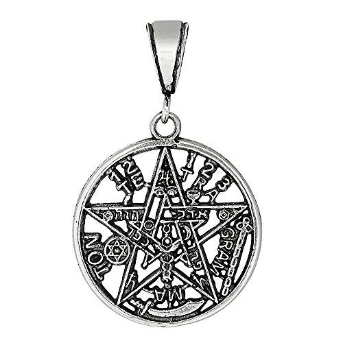 Sterling Silver Wiccan Pentagram Tetragrammaton Star Pendant 27mm LARGE ... ()
