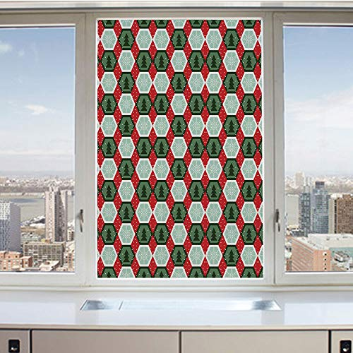 3D Decorative Privacy Window Films,Hexagon Shapes with Snowflake and Pine Tree Design Winter Themed,No-Glue Self Static Cling Glass Film for Home Bedroom Bathroom Kitchen Office 24x36 Inch