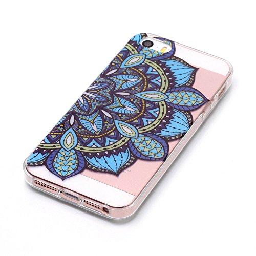 Hülle iPhone 5 5S SE , LH Halbe Blumen TPU Weich Muschel Tasche Schutzhülle Silikon Handyhülle Schale Cover Case Gehäuse für Apple iPhone 5 5S SE