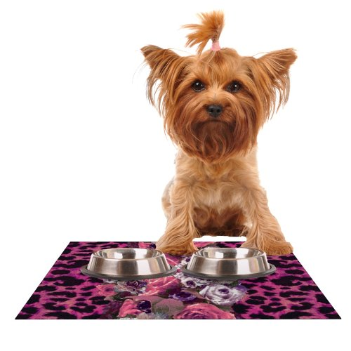 KESS InHouse Nina May Rose Stripe Feeding Mat for Pet Bowl, 24 by 15-Inch