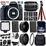 Cheap Canon EOS 77D DSLR Camera with 18-135mm is USM Lens + LED + UV FLD CPL Filter Kit + Wide Angle & Telephoto Lens + Camera Case + Tripod + Card Reader – International Version