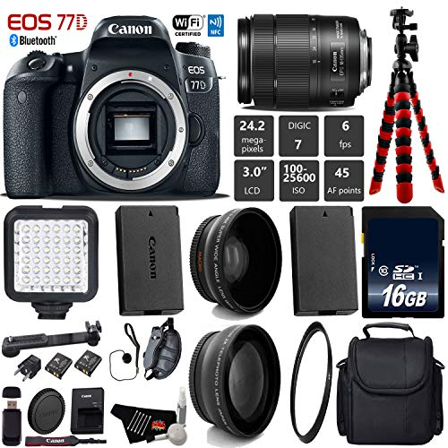 Canon EOS 77D DSLR Camera with 18-135mm is USM Lens + LED + UV FLD CPL Filter Kit + Wide Angle & Telephoto Lens + Camera Case + Tripod + Card Reader - International Version