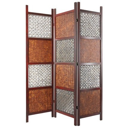 Oriental Furniture 6 ft. Tall Bamboo Leaf Room Divider (3 Panel Rattan Screen)
