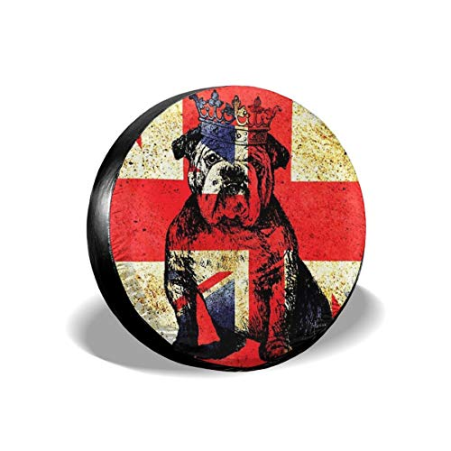 Dog Accessories Uk - Beach Surfers Spare Tire Cover British Bulldog Crown UK Flag Accessories Universal Spare Tire Covers for Trailer RV Car Truck Wheel 17 Inch