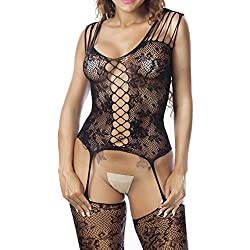 Kstare Crotchless Bodystocking Plus Size Open Crotch Teddy Lingerie for Women (Free Size, Black -1)