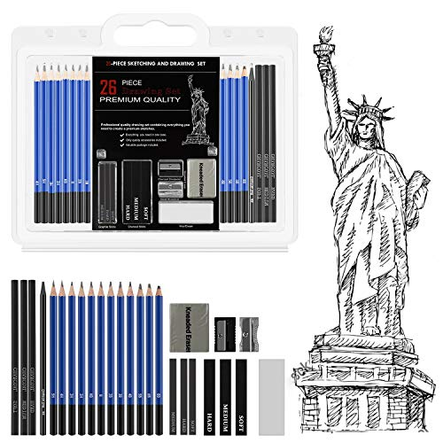 26 Pieces Sketching & Drawing Pencil Set,with Graphite & Charcoal Sticks,Drawing Pencils and Sketching Tools Kit, Professional Sketching Set,Great Gift for Kids&Adults