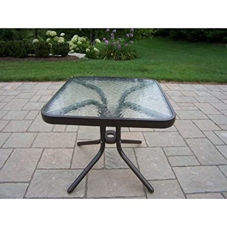 Oakland Living Glass Top Side Table, 20 Inch, Coffee