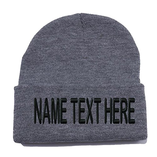 Custom Embroidery Personalized Name Text Ski Toboggan Knit Cap Cuffed Beanie Hat - Heather Charcoal - Cap Embroidered T-shirt