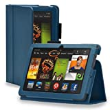 TNP New Fire HD 8 Case (Dark Blue) - Slim Fit Synthetic Leather Folio Case Cover Stand for Amazon Fire HD 8 Inch Tablet 5th Generation 2015 Release with Auto Wake Sleep Feature and Stylus Holder
