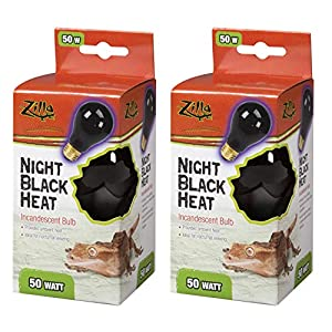 Zilla Night Black Heat Incandescent Bulb for Reptiles [Set of 2] Watt: 50 Watts 12