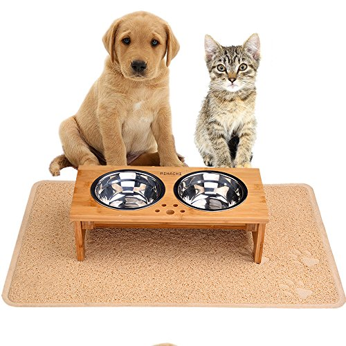 Raised Dog Bowls Elevated Pet Feeder-with 1 Pet Feeding Mat & 2 bowls for Cats and Small Dogs, 4