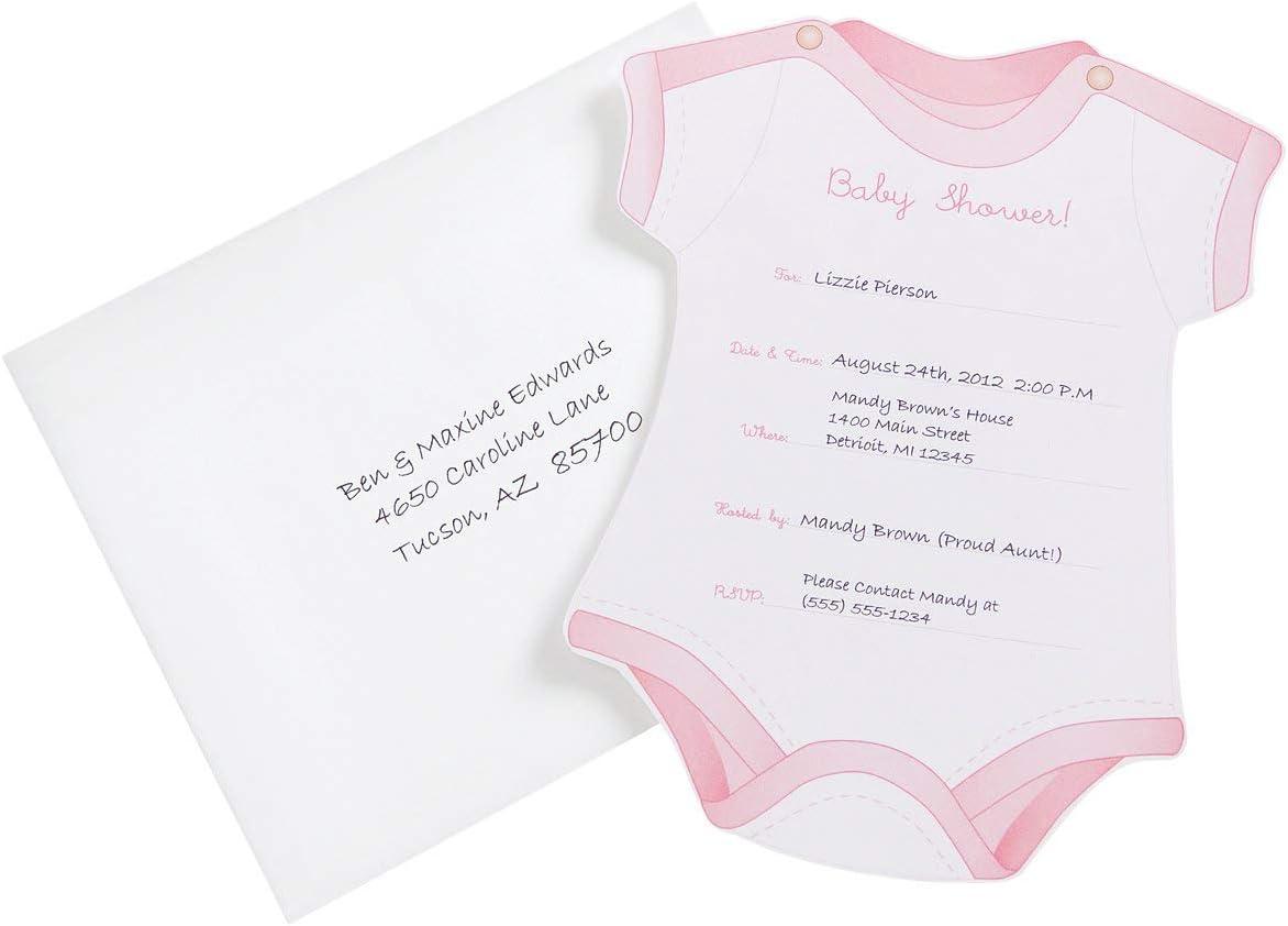 Wilton Onesie Girl Fill in Baby Shower Invitations