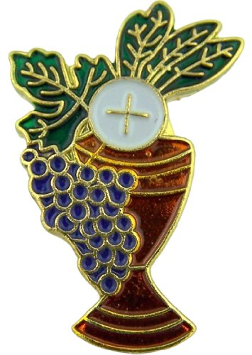 Chalice with Grapes and Wheat 1 Inch Gold Plate with Enamel First Communion Lapel ()