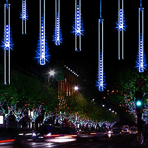 (YSIM Meteor Shower Rain Lights,Twinkling Romantic Lights for Party, Wedding, Christmas, etc.11.8inch 8 Tubes (Blue))