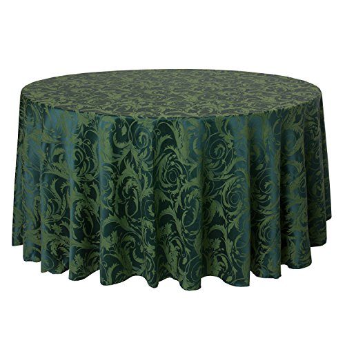 Ultimate Textile (3 Pack) Damask Melrose 114-Inch Round Tablecloth - Home Dining Collection - Floral Leaf Scroll Jacquard Design, Hunter Green by Ultimate Textile