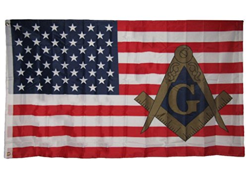 AES 3x5 USA American Mason Masonic Lodge Polyester Flag 3x5 Banner Grommets Fade Resistant Double Stitched Premium Penant House Banner Grommets
