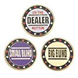 GOGO Set of 3 Metal Chip Poker Buttons - Small Blind, Big Blind and Dealer