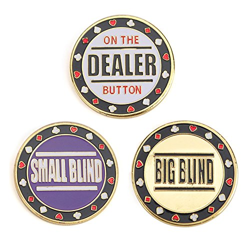 Poker Button (GOGO Set of 3 Metal Chip Poker Buttons - Small Blind, Big Blind and Dealer)