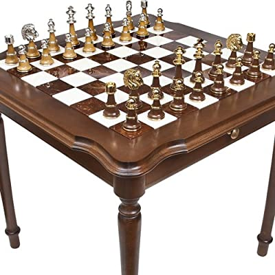 Bello Games Collezioni - Sorrento 24K Gold/Silver Chessmen & Luxury Palazzo Chess & Checkers Table from Italy