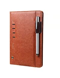"""Galaxy Tab A Case 10.1"""" T580 Book Cover,MeiLiio PU Leather Case Slim Fit Stand Cover with Business Card Slot Pen Elastic Band Smart Case for Samsung Galaxy Tab A 10.1 SM-T580/SM-T585 Tablet (Brown)"""