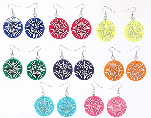 Large Hand-painted Acrylic Earrings, Starburst