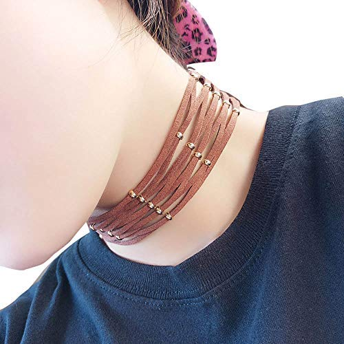 Haluoo Trendy Multilayered Leather Rope Braided Cross Bib Collar Necklace Chic Metal Ball Beaded Choker Statement Necklace for Women Fashion Jewelry 12″+4″ Extensioner (Brown)