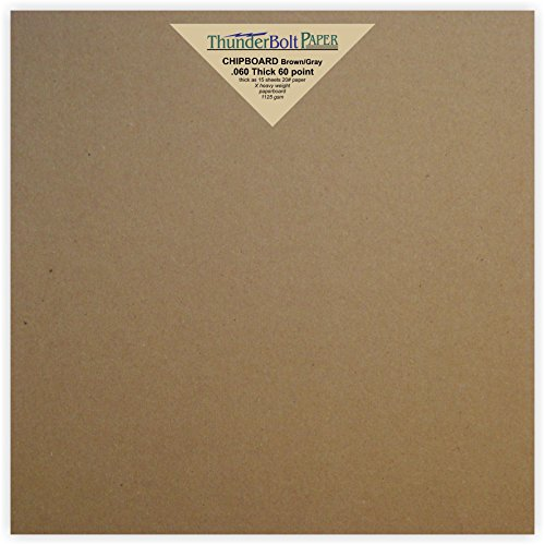 24 Sheets Brown Chipboard 60 Point Extra Thick 8 X 8 Inches Album|Scrapbook Size .060 Caliper X Heavy Cardboard as Thick as 15 Sheets 20# Paper by ThunderBolt Paper