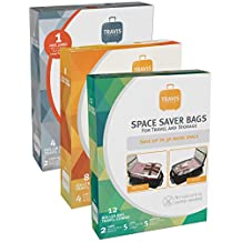 Travis Travel Gear Space Saver Bags. No Vacuum Rolling Compression, Multi Size Pack of 12