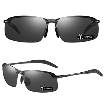 TERAISE Gafas de sol polarizadas clásicas para hombre UV400 Protección Ultra Ligero Gafas de sol con estuche plegable