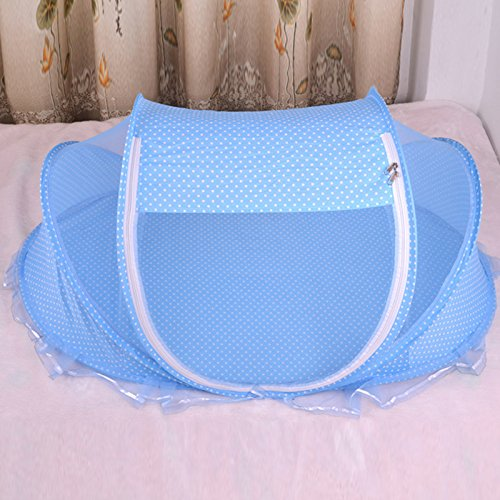 Not Include Cotton Mats Zehui Foldable Baby Anti-Bug Mosquito Net Playpen Tent with Pillows Blue