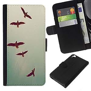 KLONGSHOP // Tirón de la caja Cartera de cuero con ranuras para tarjetas - Las aves del cielo del trullo Libertad profunda Vignette - HTC Desire 820 //
