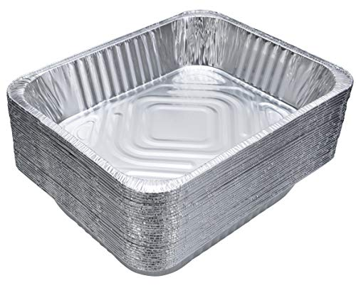 (DOBI Aluminum Pans (30-Pack) - Disposable Aluminum Foil Steam Table Deep Pans, Half Size Chafing Pans - 12 1/2