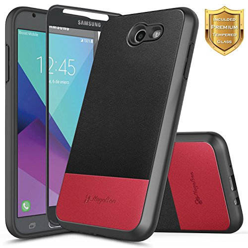 Galaxy J7 Sky Pro Case, J7 V /J7 Perx /J7 Prime/Halo w/[Tempered Glass Screen Protector], NageBee Premium [PU Leather] Shockproof Hybrid Rugged Durable Case for Samsung Galaxy J7 2017 -Black/Red -