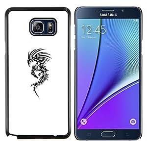 Caucho caso de Shell duro de la cubierta de accesorios de protección BY RAYDREAMMM - Samsung Galaxy Note 5 5th N9200 - Arte Tinta Negro Dragón Blanco Resumen