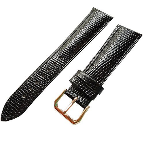 New 22mm Black lizard Grain Leather Watch Strap Band Stainless Steel Buckle (Rose Gold) (Watch Leather Grain Black Lizard)