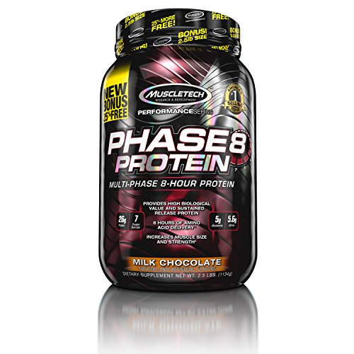 Phase8 Whey Protein Powder, Sustained Release 8-Hour Protein Shake, Milk Chocolate, 22 Servings (2.0lbs)
