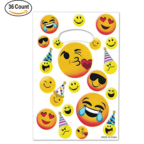 Well Wreapped 36 Pack Emoji Treat Bags Face Plastic Goodie Bag Birthday Party Favors