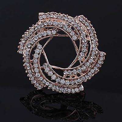 Earofcorn Fashion Elegant Style Electroplating Rose Gold Rhinestone Flowers Brooches