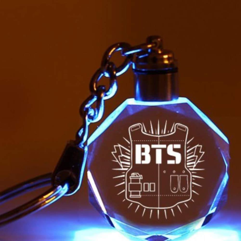 Bestomrogh KPOP BTS EXO GOT7 BLACKPINK TWICE SEVENTEEN Cr/éatif Color/é Transparent Cristal Pendentif Porte-cl/és Lettre Impression Porte-cl/és Cadeau chaud pour les fans 7PCS