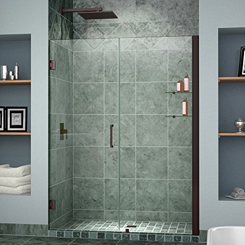 DreamLine Unidoor 42-43 in. Width, Frameless Hinged Shower Door, 3/8'' Glass, Oil Rubbed Bronze Finish by DreamLine