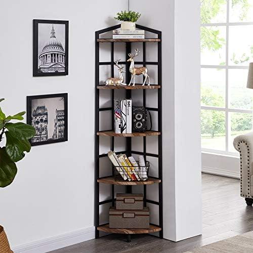 Hombazaar 5-Shelf Industrial Corner Bookcase and Shelf