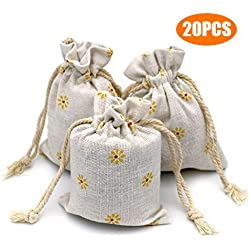 G2PLUS 20 PCS Cotton Burlap Drawstring Pouches Gift Bags Wedding Party Favor Jewelry Bags 3.5'' x 4.7'' (Yellow Daisy)