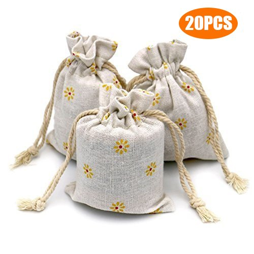 (G2PLUS 20 PCS Cotton Burlap Drawstring Pouches Gift Bags Wedding Party Favor Jewelry Bags 3.5'' x 4.7'' (Yellow)