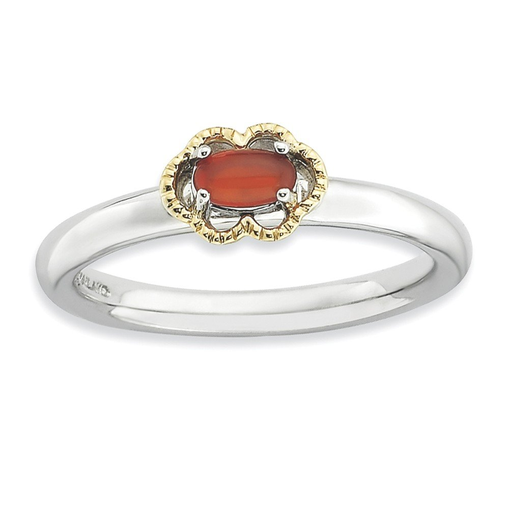 Top 10 Jewelry Gift Sterling Silver & 14k Stackable Expressions Red Agate Polished Ring